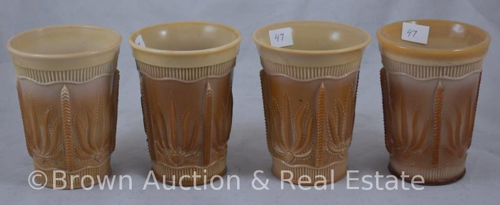 "(4) Chocolate Glass Cactus 4""h tumblers (couple with rough bases)"