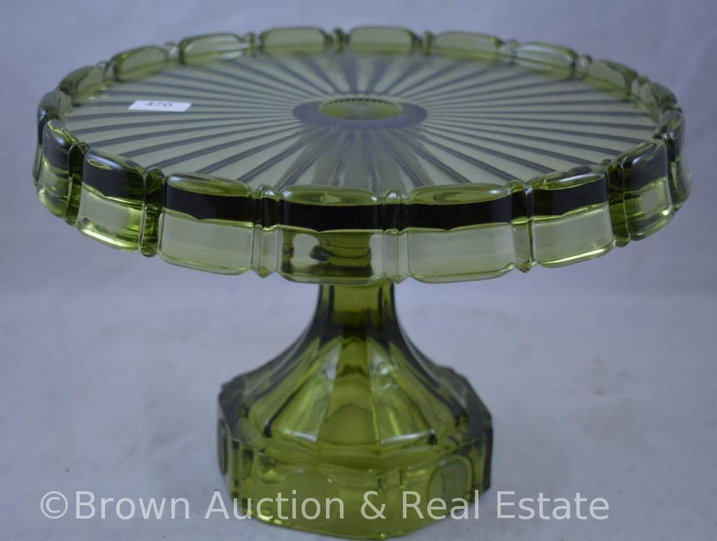 """Rare """"Coin"""" 7""""h green cake stand"""