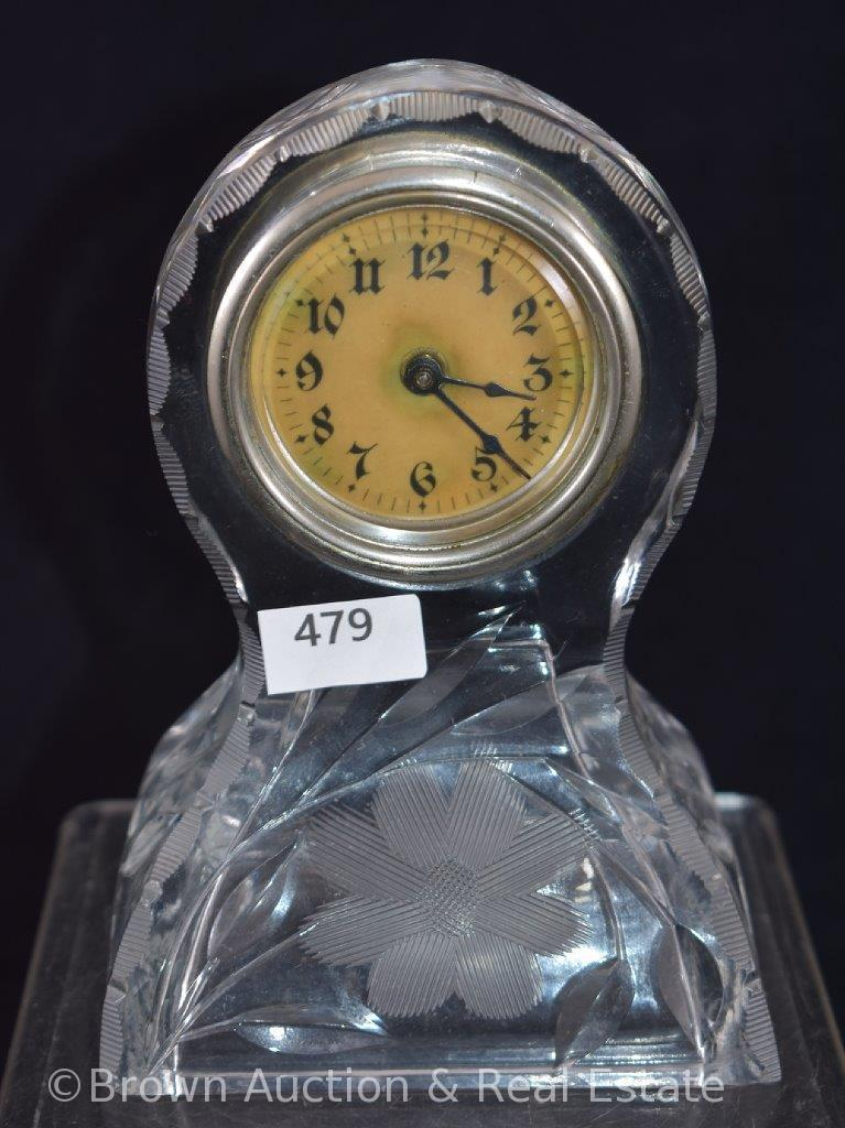 "Etched Crystal 5.5""h clock"