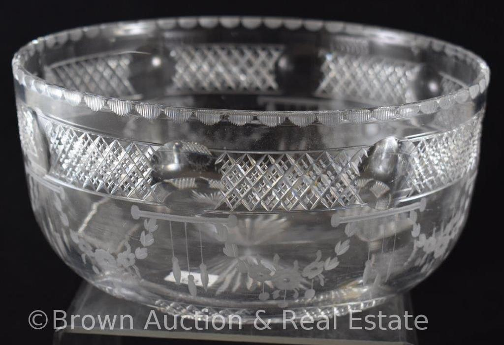 "American Brilliant Cut Glass 8""d high bowl, signed Hawkes"