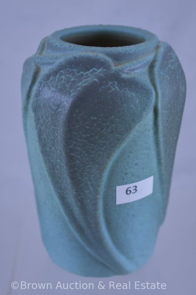 """VanBriggle 6""""h Philodendron vase, green, dated 1913"""