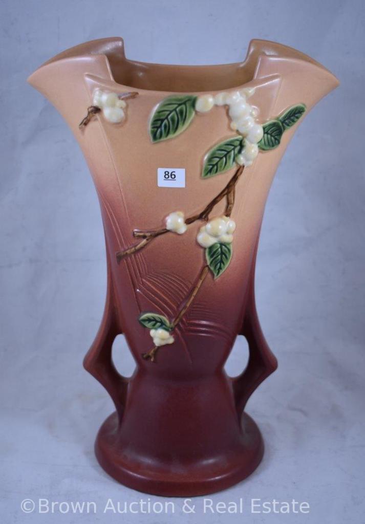 """Roseville Snowberry 1V2-12"""" vase, pink"""