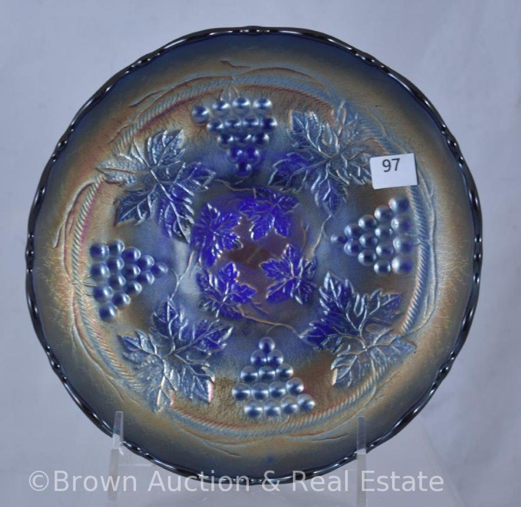 """Carnival Glass Grape and Cable 7""""d x 2""""h bowl, cobalt"""