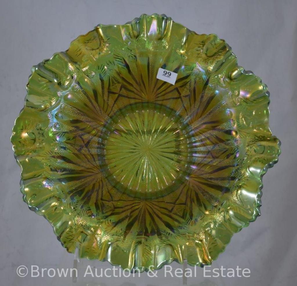 "Carnival Glass Stippled Rays 9""d bowl, green"