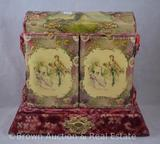 Velvet covered vanity box with celluloid lid and 2-doors decorations, 10.5