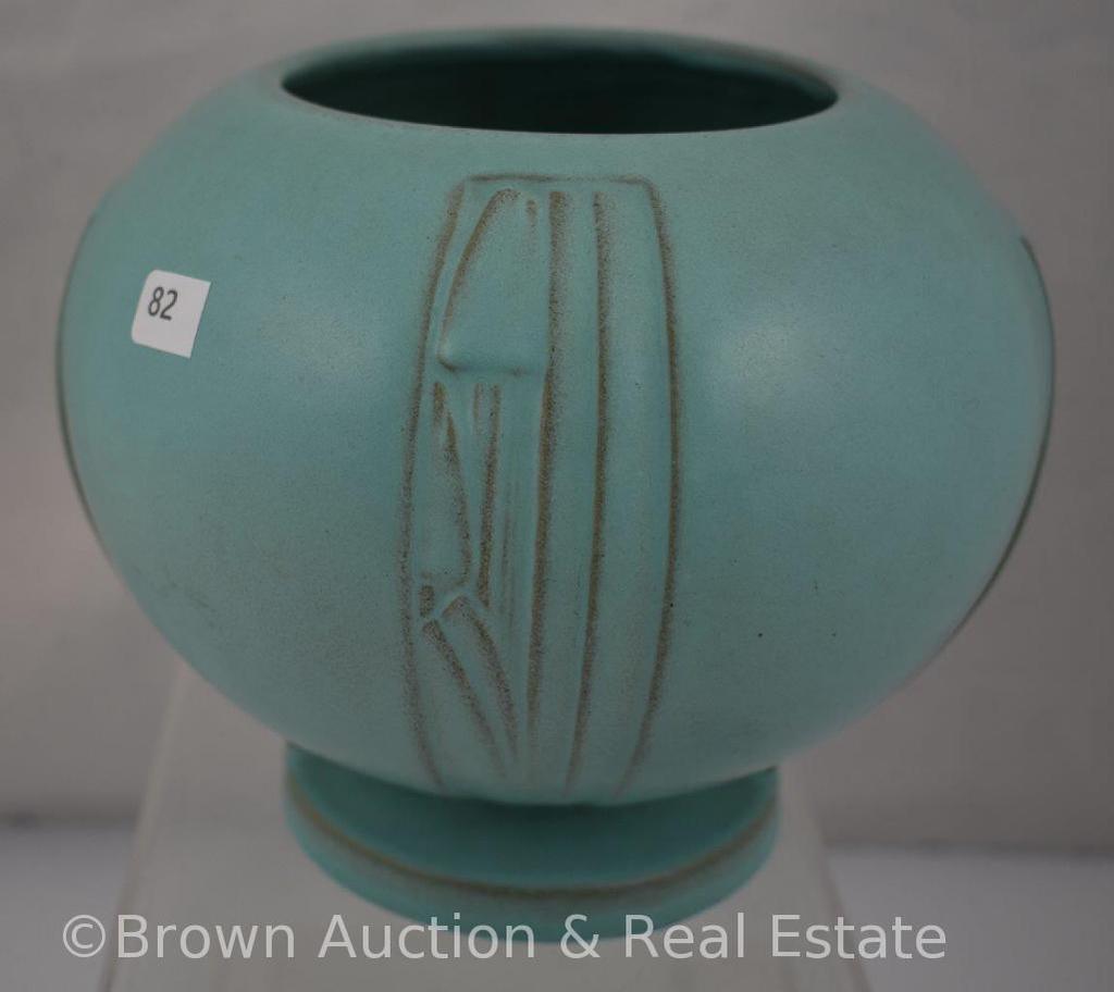 """Roseville Moderne 299-6"""" bowl, turquoise"""