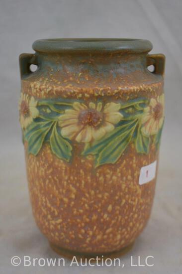 """Roseville Dahlrose 6"""" dbl. handled vase"""