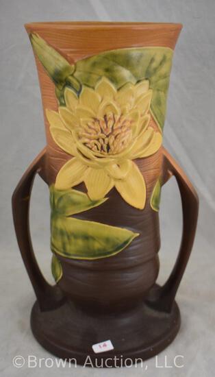 "Roseville Water Lily 82-14"" vase, brown"
