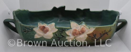 "Roseville Magnolia 452-14"" console bowl, green"