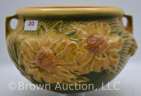 """Roseville Peony 467-5"""" hanging basket, yellow"""