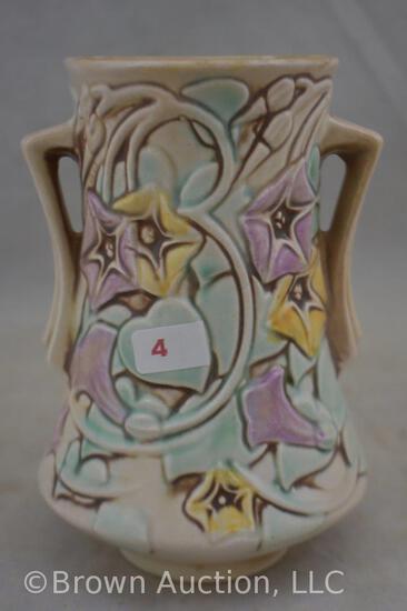 """Roseville Morning Glory 724-6"""" vase, white"""