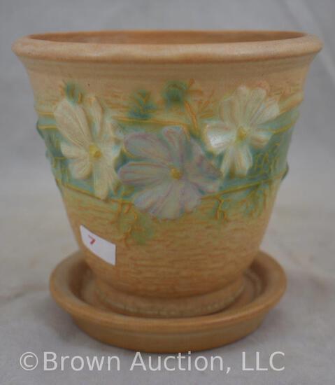 """Roseville Cosmos 650-5"""" flower pot/saucer, tan"""