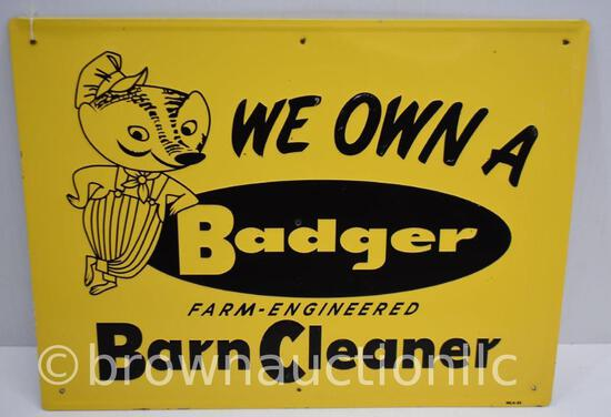 Badger Barn Cleaners single sided tin embossed sign