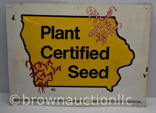 Iowa Plant Certified Seed single sided tin embossed sign