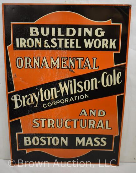 Brayton-Wilson-Cole Building, Iron and Steel Work single sided tin embossed sign