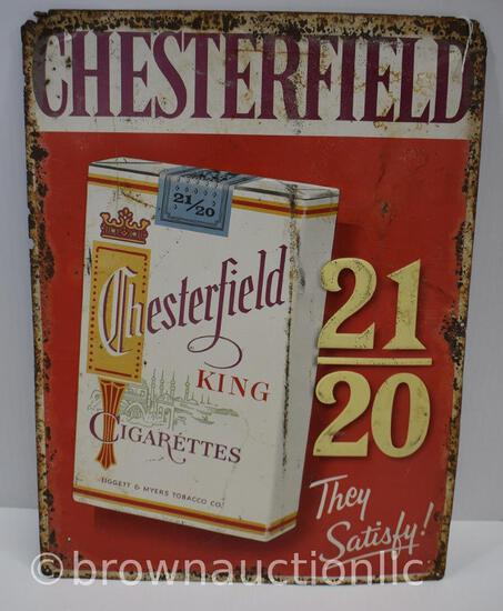 Chesterfield Cigarettes single sided tin embossed sign