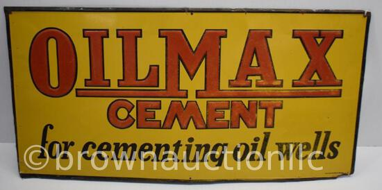 Oil Max Cement single sided tin embossed sign