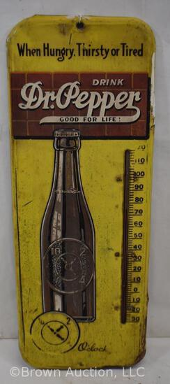 Dr. Pepper single sided tin thermometer, good mercury
