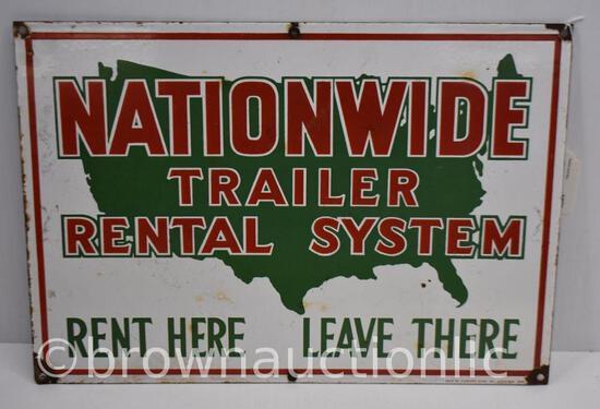 Nationwide Trailer Rental System single sided porcelain sign