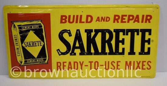 Sakrete Cement Mixes single sided tin embossed sign
