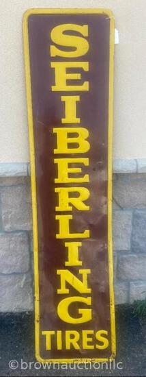 Seiberling Tires single sided tin embossed vertical sign