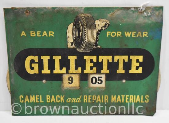 Gillette Tires single sided tin rotating calendar sign