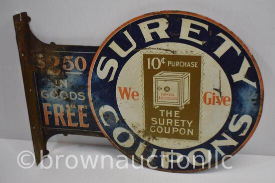 Surety Coupons dbl. sided tin flange sign