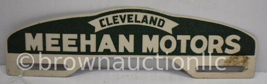 Cleveland Meehan Motors aluminum tag topper (smaltz like reflective material)