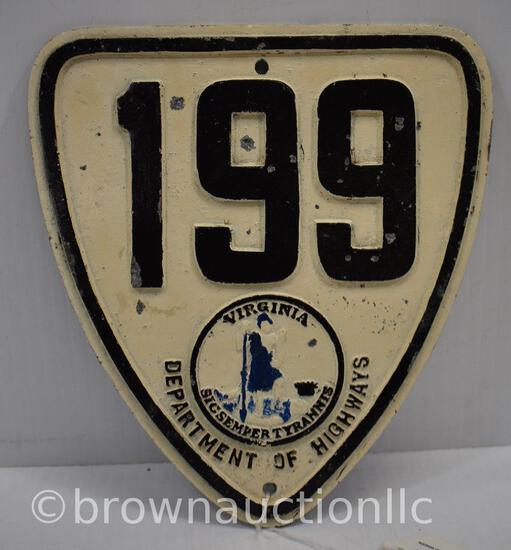 Virginia State Highway 199 pot metal shield sign