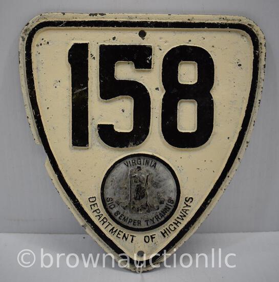 Virginia State Highway 158 pot metal shield sign