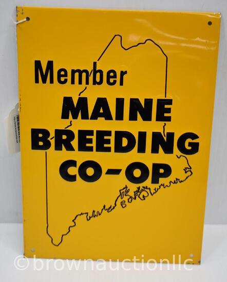 Member of Maine Breeding Coop single sided tin embossed sign