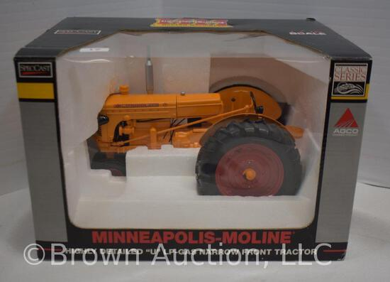 """Minneapolis-Moline highly detailed """"U"""" LP-gas narrow front die-cast metal tractor"""
