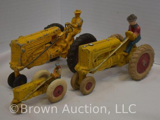 (3) Old Minneapolis-Moline toy tractors w/rubber wheels