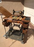 1900s Vintage Singer No 27-4 treadle sewing machine with manuals & attachments