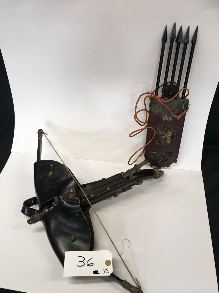 Antique Chinese Crossbow & Quilt bolt quiver (w/arrows & w/leather shoulder strap).