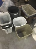 Lot of assorted size trash cans