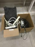 Lot of assorted cords, adapters, computer mouses, etc.