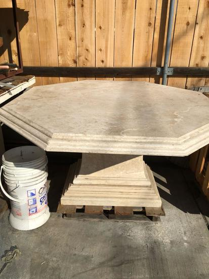 Large Travertine Outdoor Table Top And Two Pedestools