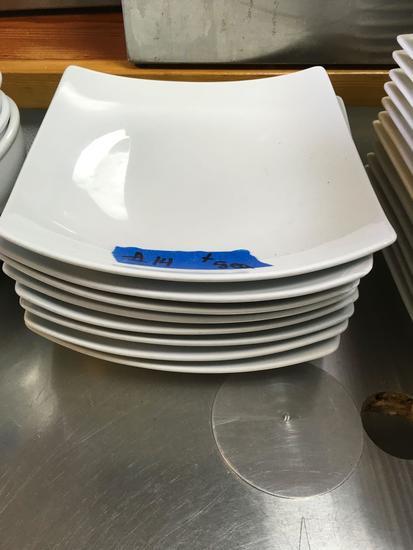 Radford China Square Dinner Plates, Curved Rim, 10 in. x 10 in.