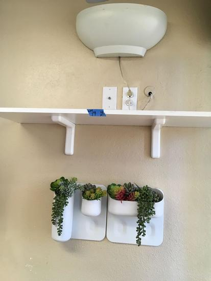 Wall Decor, Sconce Light Fixture, Shelf with Brackets, 2 Planters with Artificial Plants