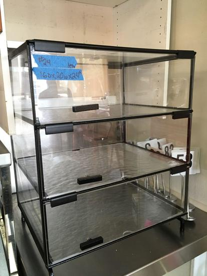 Counter Top Glass Display Cabinet, 3 Tier, 20 in. wide x 16 in. deep x 24 in. tall