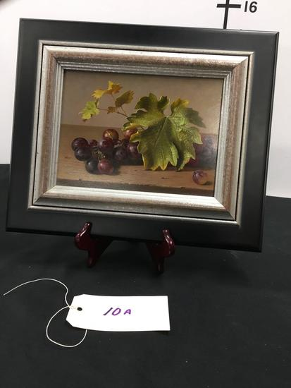 7 in. x 9 1/2 in Grape Study oil painting. Has sticker in back see pic