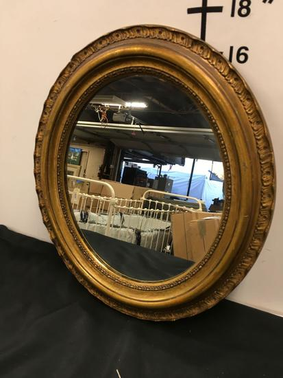 Antique Clyde L Smith frame oval mirror. Has sticker in back see pic