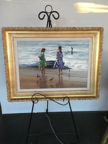 Sea Scape Oil on canvas, Sharing Time, by R. Hagen Value $3,100