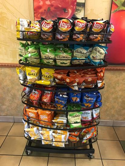 6 tier rolling display rack. Does not include potato chips