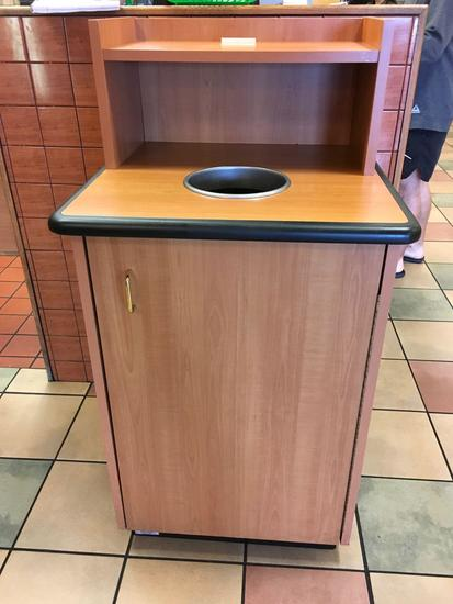 Trash receptacle, tray shelf, with rolling trash liner
