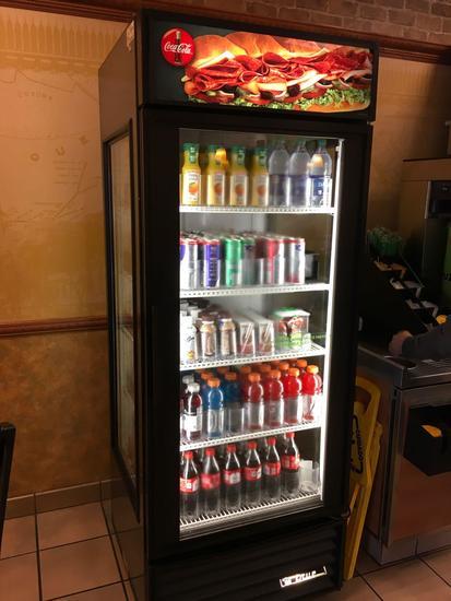 True - model GEM-26, glass door refrigerated merchandiser, 115 volt. ( drinks not included)