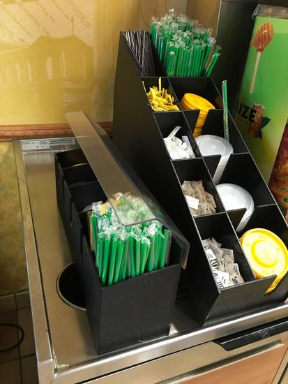 Condiment stations for straws and lids. ( contents in them NOT included)
