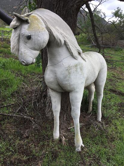 Life-size stuffed horse. It is outdoors