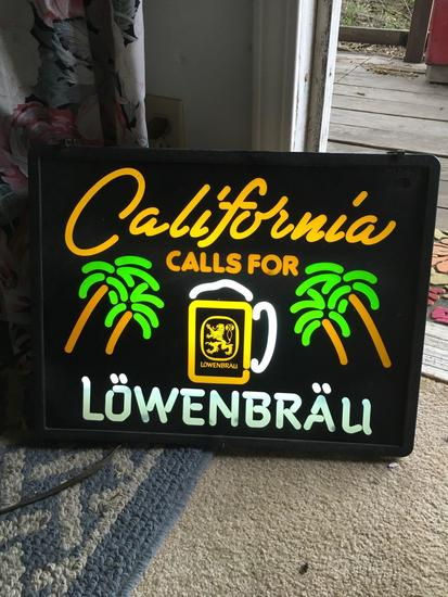 """California calls for LowenBrau"" neon sign. Turned on (area 2)"